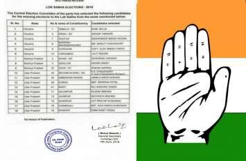 कांग्रेस की नई लोकसभा कैंडिडेट लिस्ट जारी, पूर्व BJP सांसद व पूर्व सपा मंत्री इन नेताओं को दिया टिकट, देखें पूरी लिस्ट