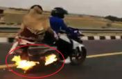 बाइक में लगी थी आग पति-पत्नी और एक मासूम था सवार, 4 किलोमीटर बाद हुआ कुछ ऐसा... देखिए वीडियो