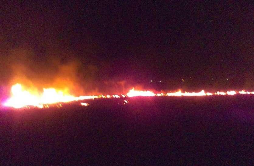 भीषण आगजनी से १५ एकड़ का गन्ना जला