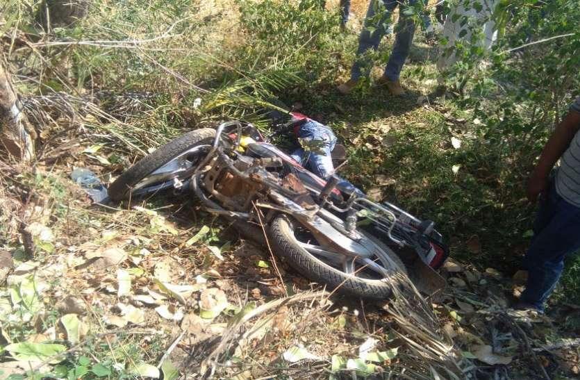 पेड़ से टकराकर बाइक सहित खाई में गिरा युवक, मौत