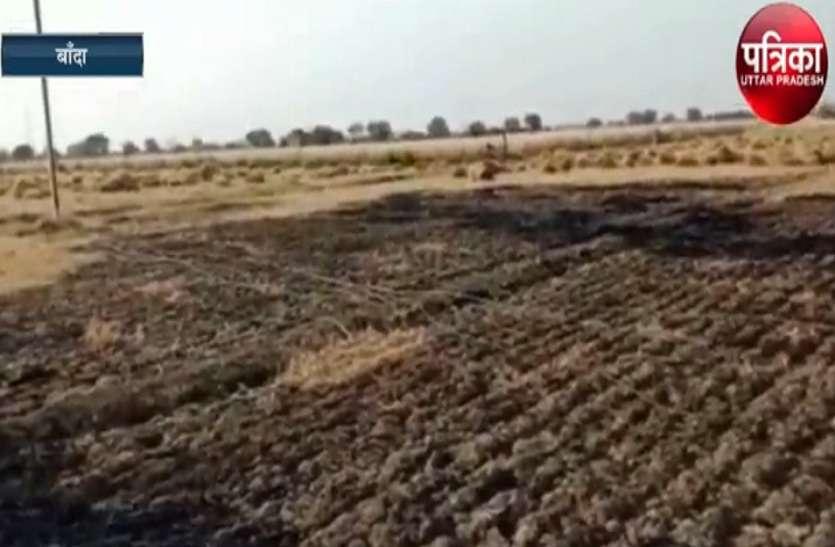 झूलते बिजली के तारों से हुआ शॉट सर्किट, लाखों की फसल जलकर हुई खाक, किसान हुए बर्बाद