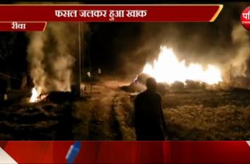 खलिहान में भड़की भयंकर आग, जलकर राख हुई पूरी फसल.....देखें वीडियो