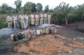 15 हजार 800 किलोग्राम महुआ लहान और 180 लीटर कच्ची शराब जप्त