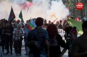 VIDEO: चिली में प्रदर्शनकारियों और पुलिस के बीच हिंसक झड़प