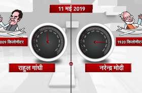पीएम मोदी और कांग्रेस अध्यक्ष राहुल का वॉक एंड टॉकमीटर