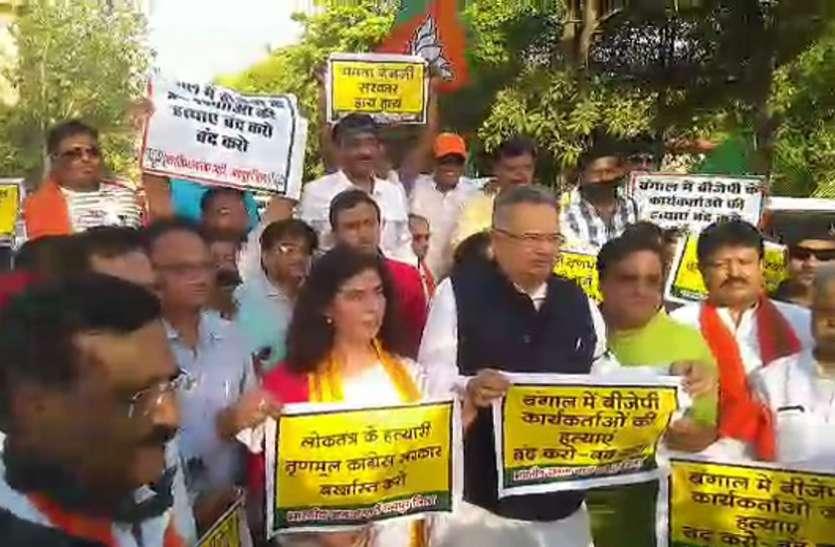 अमित शाह के रोड शो में हुए हमले के विरोध में BJP ने निकाला शांतिमार्च