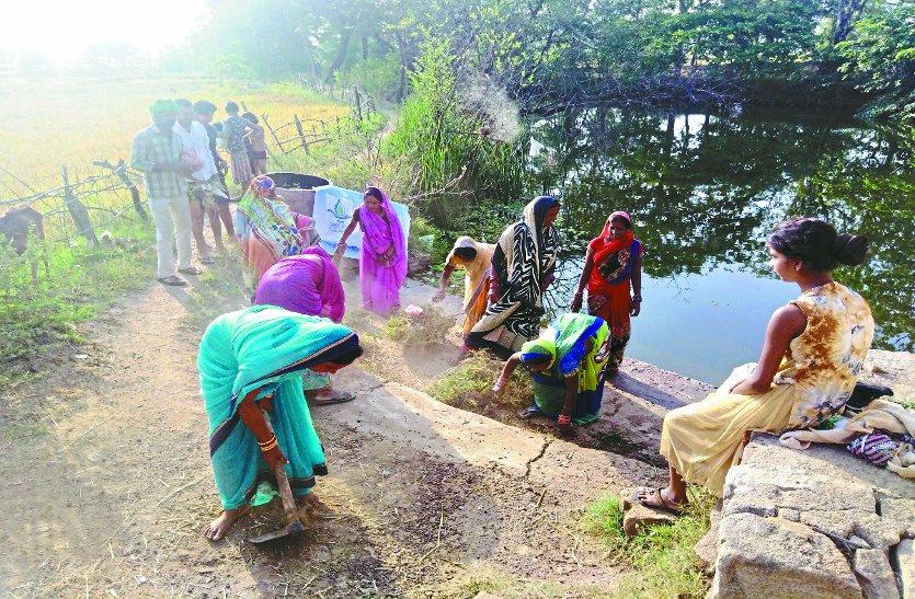 पत्रिका अमृतं जलम अभियान : एक घंटे के श्रमदान से बदला तालाब का स्वरूप, संरक्षण का लिया संकल्प
