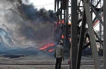 नर्मदा शुगर मिल की बगास में भडक़ी आग, चपेट में आने से बचा एथनाल प्लांट