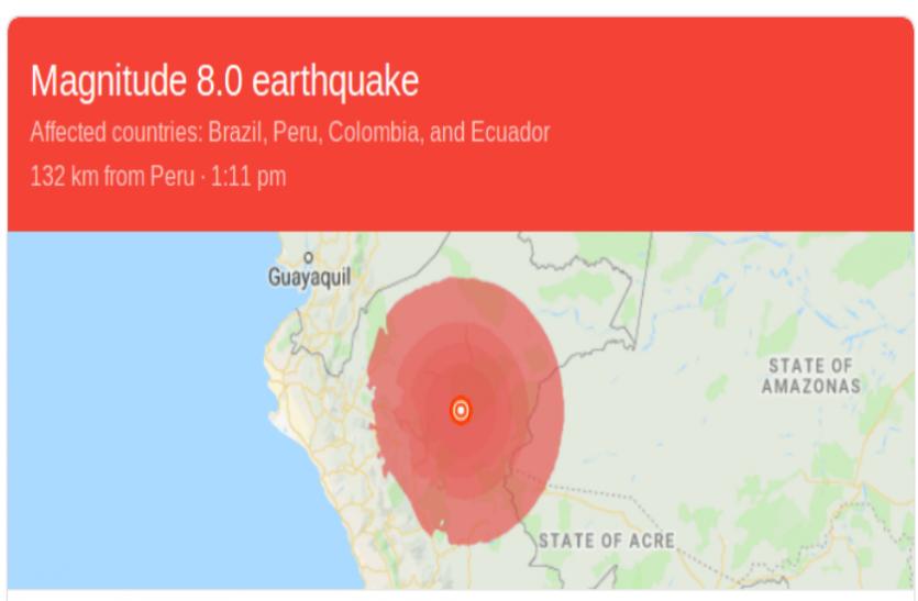 पेरू में 8.0 तीव्रता की भूंकप के जोरदार झटके, भारी नुकसान की संभावना