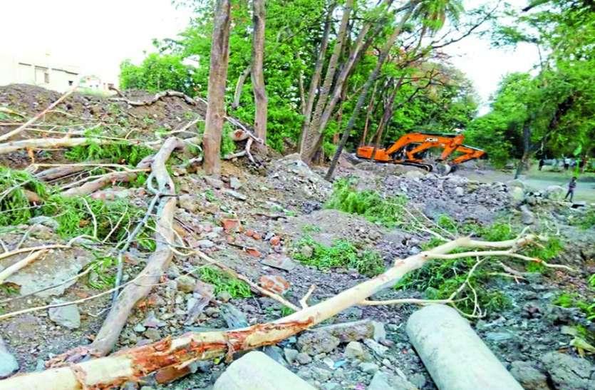लालबाग पैलेस के पीछे कान्ह नदी की सफाई के साथ उखाड़े हरे-भरे पेड़