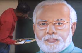 अमृतसर के एक कलाकार ने मोदी की बनाई विशाल स्केच पेंटिंग, देखें VIDEO
