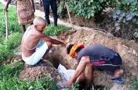 राष्ट्रीय पक्षी मोर के शव को ग्रामीणों ने हिंदू रीति रिवाज के साथ दफनाया
