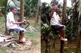 इस शख्स ने बनाई ऐसी मशीन जिससे कोई भी चढ़ सकता है आसानी से पेड़ों पर, देखिए वीडियो