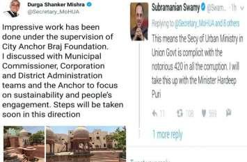 भारत सरकार के सचिव नगर विकास दुर्गा शंकर मिश्र के ट्वीट पर खड़ा हुआ विवाद, कद्दावर नेता सुब्रमण्यम स्वामी दी कड़ी प्रतिक्रिया, जानिए पूरा मामला!