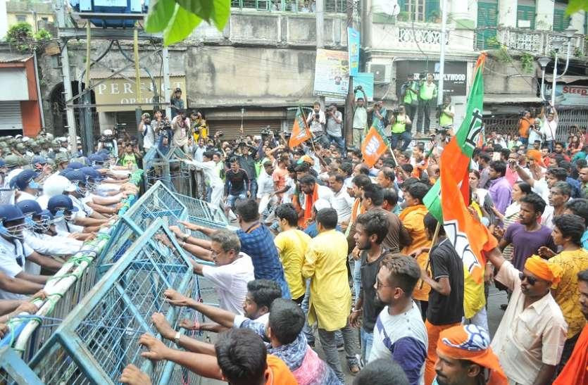 भाजपा केलालबाजार अभियान पर पुलिस ने किया पानी की बौछार, दागे आंसू गैस के गोले