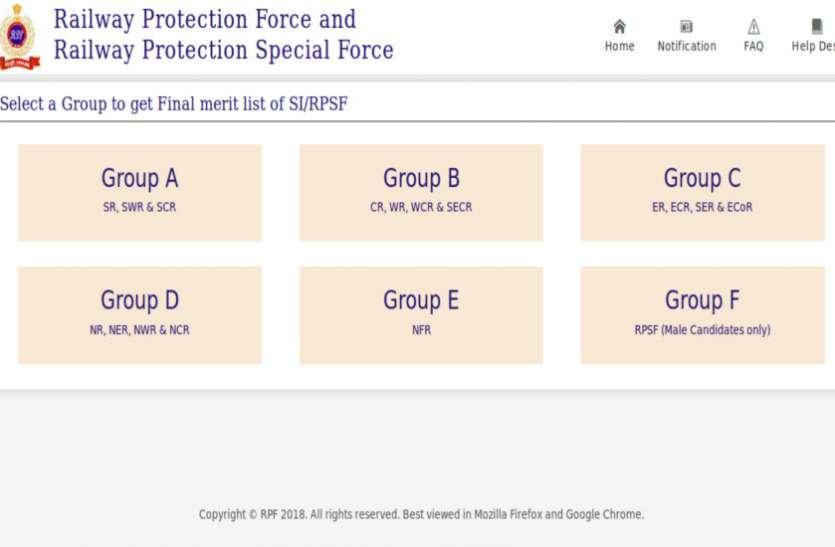 RPF/RPSF SI Final Merit List जारी, सभी ग्रुप की फाइनल मेरिट लिस्ट यहां से करें डाउनलोड
