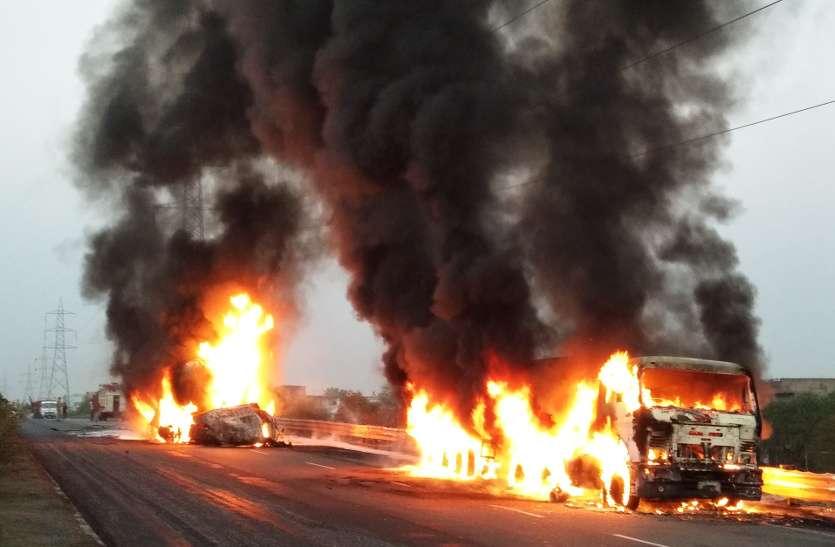 धमाके से खुली आंख, देखा तो आसमान में आग का गोला, सड़क पर जलता आदमी, देखें रोंगटे खड़े करने वाले हादसे का वीडियो