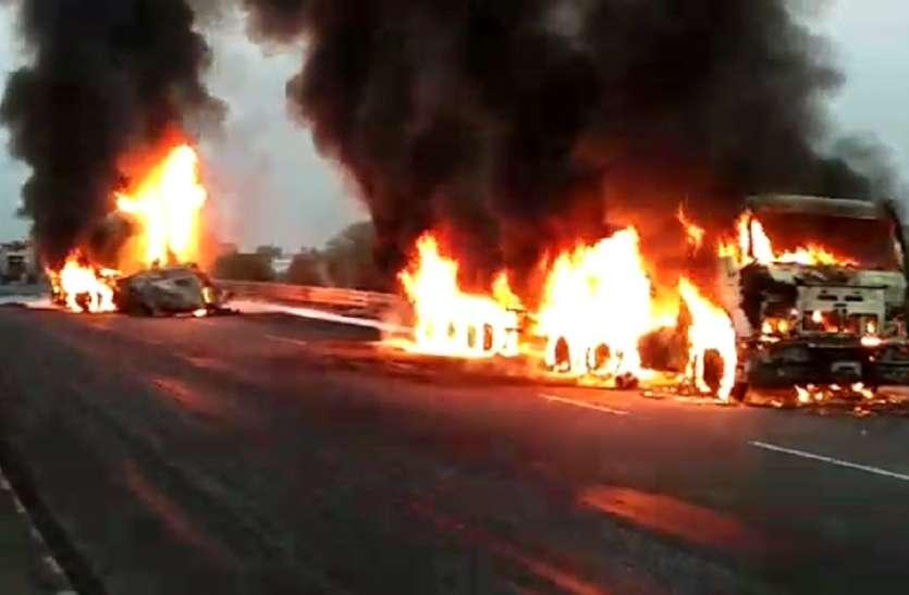 Fire in chemical tanker : jaipur में केमिकल के टैंकर में आग लगने से चालक जिन्दा जला, एक झुलसा