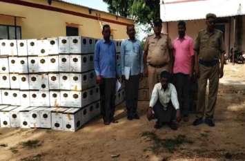 पानी की बोतलों के नीचे छिपाकर ले जा रहे थे 40 लाख की अवैध शराब, पुलिस ने तस्कर को दबोचा