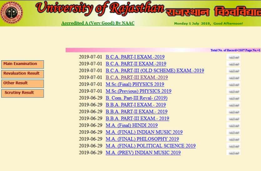 Rajasthan University BCA result: बीसीए के परीक्षा परिणाम जारी, ऐसे देखें मार्कशीट