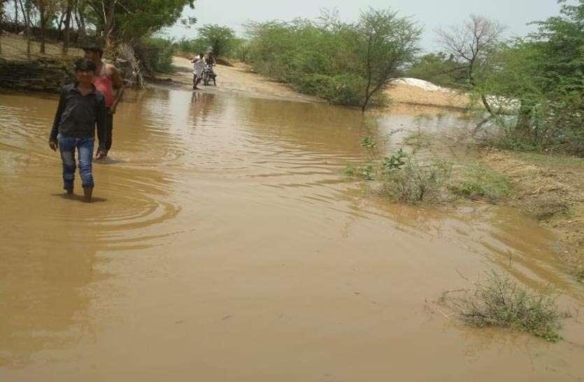 बरसात से किसानों के चेहरों पर छाई खुशी, रास्तों में जमा हुआ पानी , आवागमन हुआ बाधित