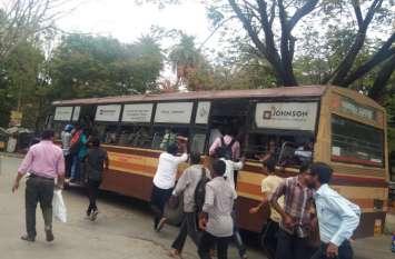 एमटीसी बसों की हड़ताल से परेशान हुए यात्री