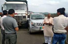 एक्सीडेंट: भाजपा सांसद की कार को तेज रफ्तार डंपर ने मारी टक्कर, बाल बाल बचे