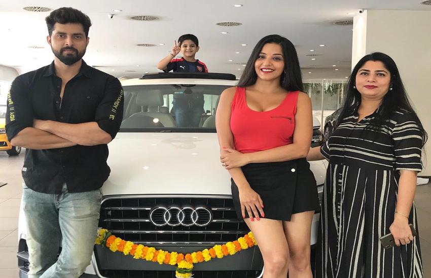 bhojpuri star monalisa get brand new audi in her garage watch video