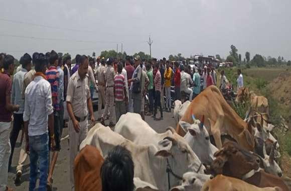 ग्रामीणों ने सड़क पर लगाया जाम, डेढ़ घंटे बंद रही गुना रोड