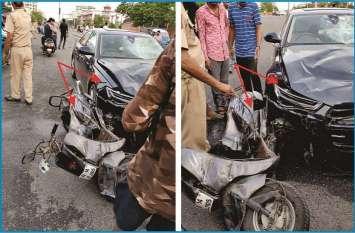 Jaipur Accident : एक कार वाले ने फिर से एक बाइक सवार युवक( Jaipur JLN Marg) को टक्कर मारी