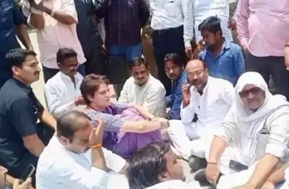 प्रियंका गांधी की गिरफ्तारी पर भड़के कांग्रेस के नेता, गैर कानूनी बताकर किया धरना प्रदर्शन