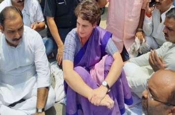 देखिए धरने पर बैठी प्रियंका गांधी ने कैसे लिया योगी सरकार को आड़े हाथ