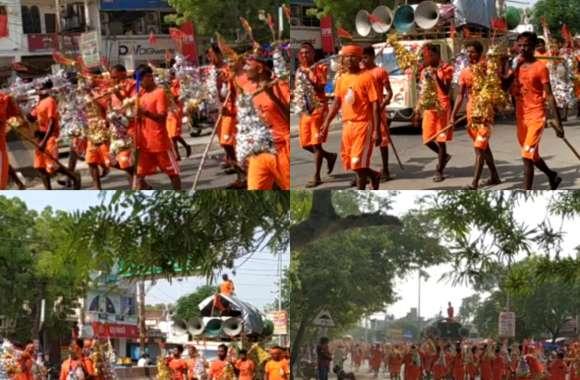 भोले पर जलाभिषेक करने के लिए सड़कों पर उतरा भक्तों का जनसैलाब