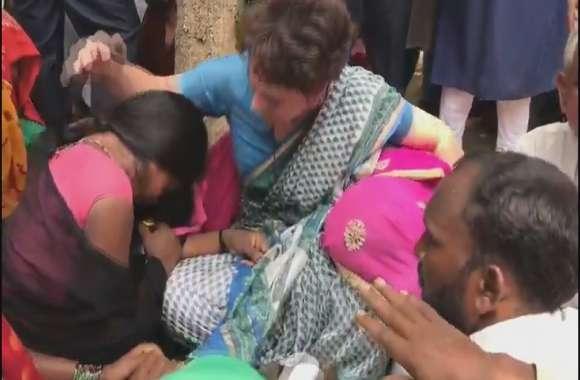 सोनभद्र नरसंहार- 26 घंटे के बाद प्रियंका गांधी का धरना खत्म, पोछें पीड़ितों के आंसू