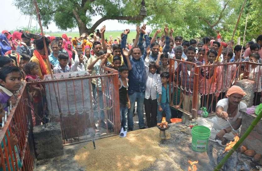 बरसात की कामना को लेकर कांकड के भैरू की सामूहिक पूजा-अर्चना, नेजा की सवारी भी निकाली