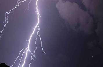 आकाशीय बिजली गिरने से सहमे श्रद्धालु, मंदिर का एक हिस्सा हुआ क्षतिग्रस्त