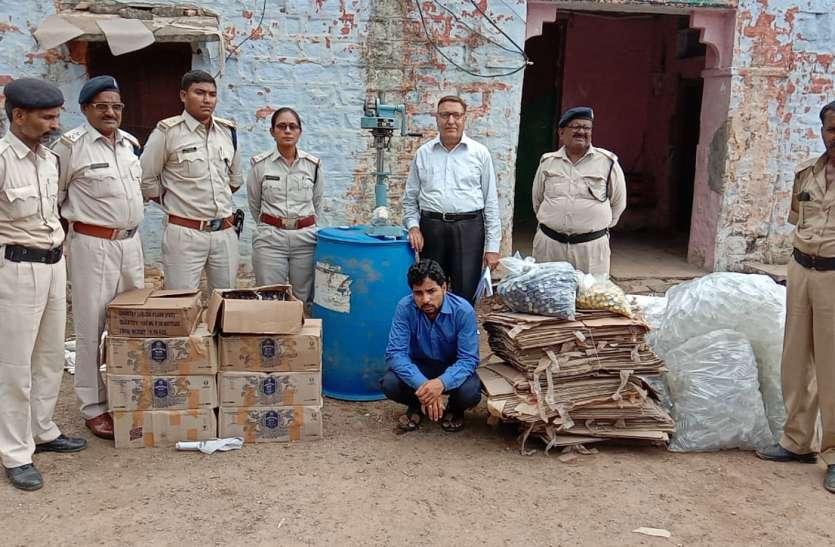 आबकारी विभाग ने सलापुरा में छापा मार पकड़ी शराब बनाने की अवैध फैक्ट्री