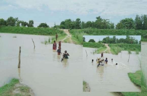 घाघरा और सरयू नदी का जलस्तर फिर बढ़ा, दर्जनों गांव के लोग घरों में फंसे