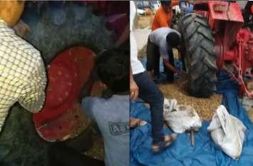 ट्रैक्टर के ट्यूबलेस टायर में डोडा डाला और भरी हवा, पुलिस ने यूं तस्करों को दबोचा