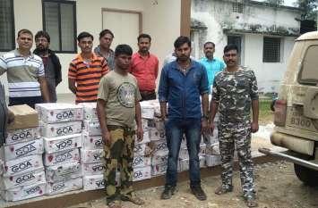 बोलेरो वाहन में ५२ पेटी शराब ले जाते पुलिस ने तीन को पकड़ा