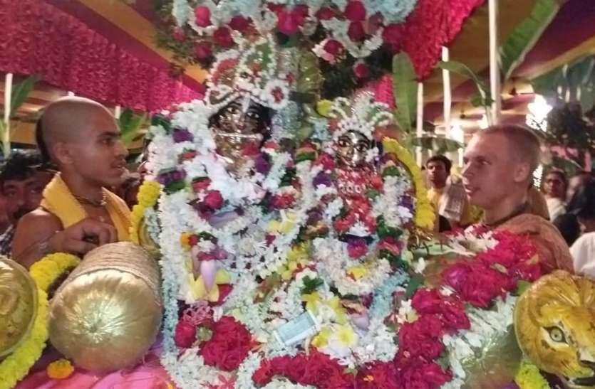 मायापुर के इस्कॉन मंदिर में शुरू हुआ झूलन महोत्सव