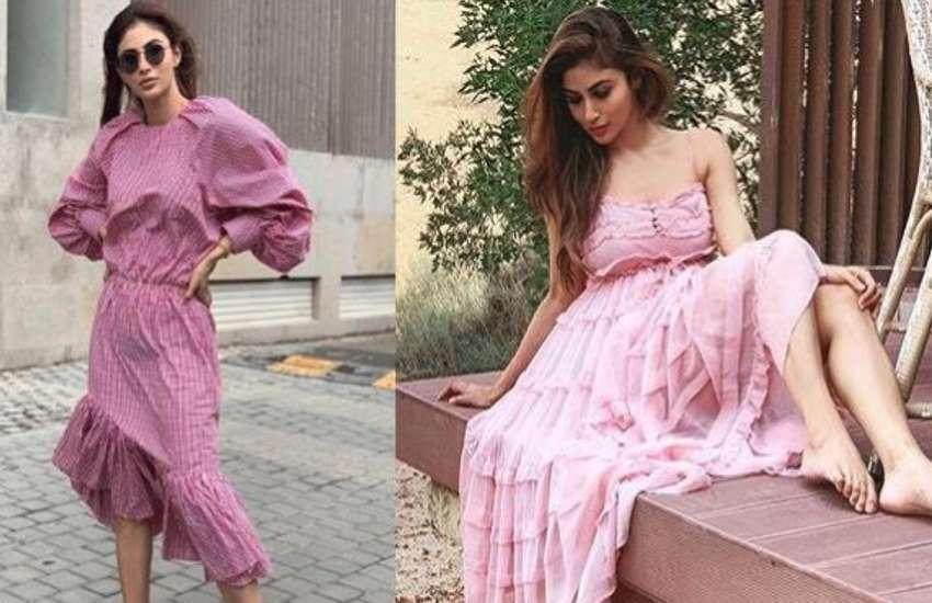 mouni roy latest photos in pink dress