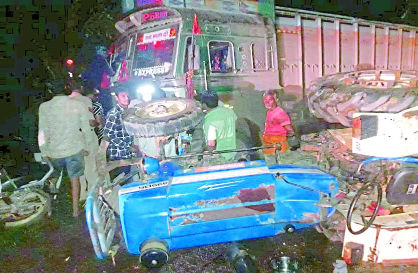 रेत खाली कर लौट रहे ट्रैक्टर-ट्राली को ट्रक ने मारी टक्कर, चालक समेत तीन लोग जख्मी