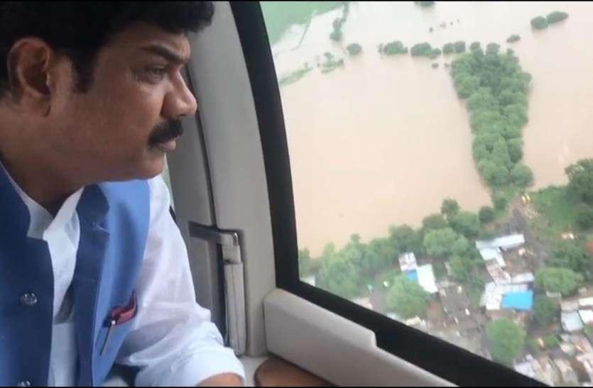 राजस्व मंत्री ने बारिश प्रभावित क्षेत्रों का किया हवाई सर्वे, अफसरों के साथ की बैठक