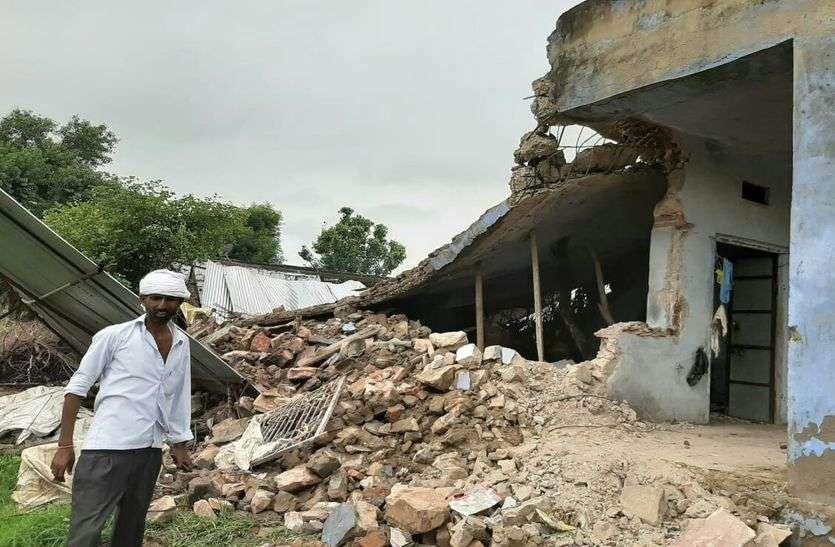 राजस्थान में यहां तेज बारिश से ढ़हे कई मकान, हुआ लाखों का नुकसान, बेघर हुए लोग