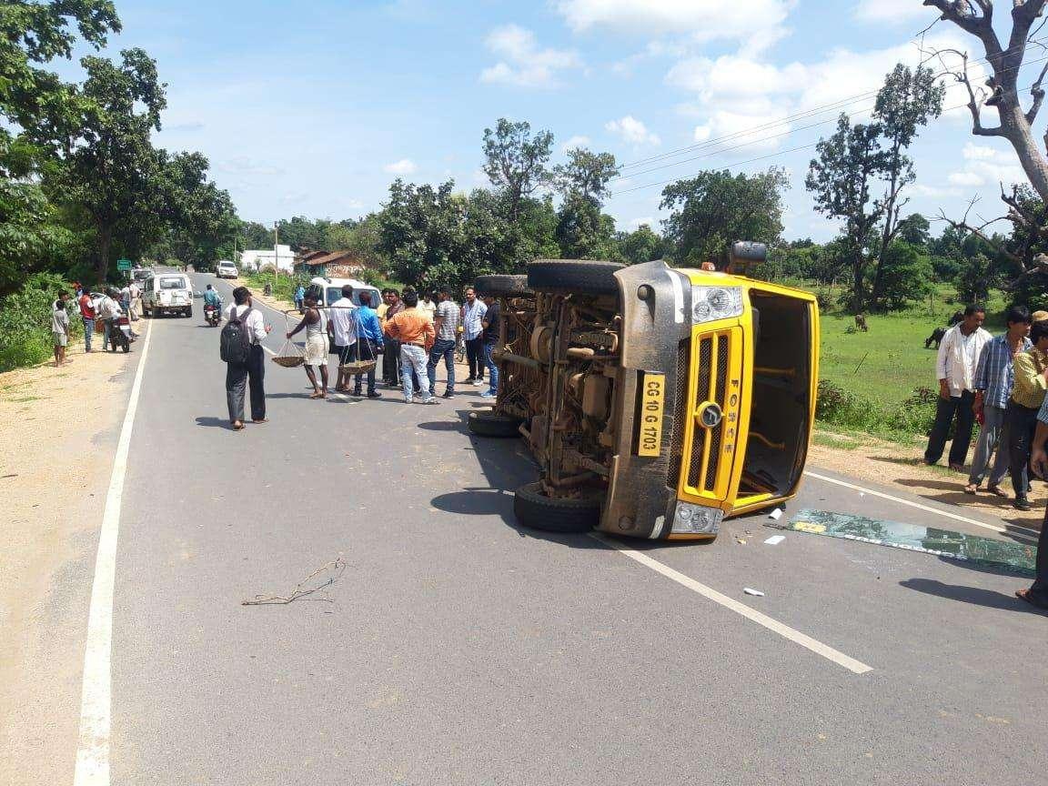 school bus accident after hit by speeding tata tigor car