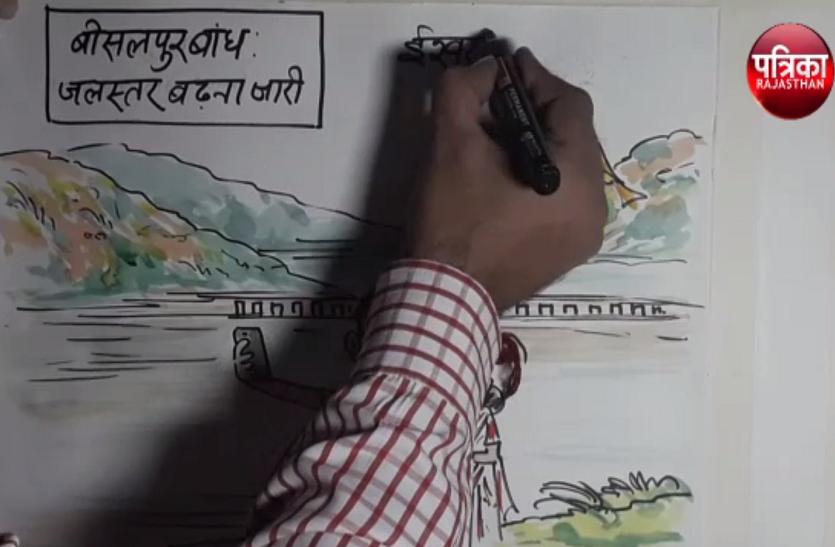 बीसलपुर बांध का जलस्तर लगातार बढ़ने से बना पिकनिक स्पॉट, इसे देखिए कार्टूनिस्ट लोकेन्द्र सिंह की नजर से