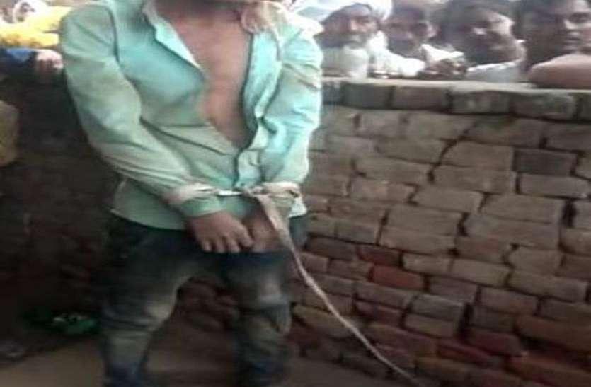चोर होने के शक पर एक युवक को बंधक बनाकर पीटा, वीडियो हुआ वायरल