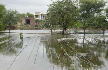 बारिश से खेतों में भर गया पानी