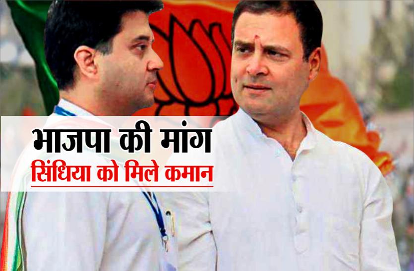 भाजपा नेता ने कहा- राहुल गांधी कांग्रेस की कमान ज्योतिरादित्य सिंधिया को सौंपे, अनैतिक तरीके से सीएम हैं कमलनाथ